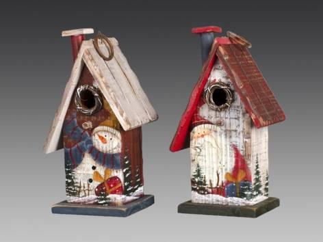 скворечник декоративный красно белый деревенский домик деревянный асс из 2 х 12 5х9 5х22 5 см
